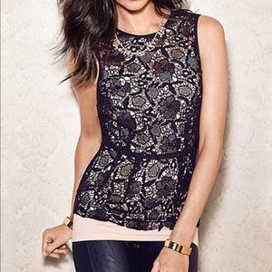 CAbi black embroidered lace top